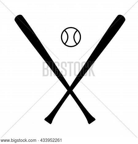 Baseball Icon On White Background. Wooden Sticks For Baseball Sign. Baseball Bats And Ball Symbol. F