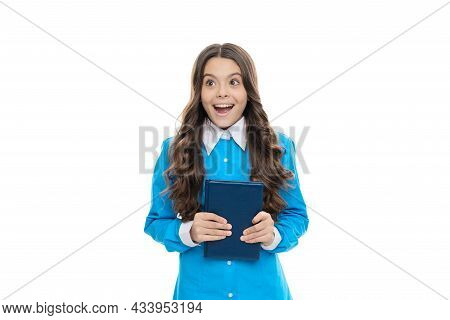 Reading Increases My Vocabulary. Surprised Child Hold Book. Literary School. Literary English