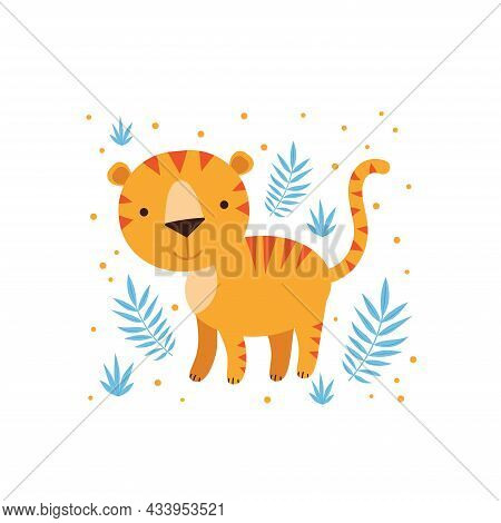 Illustration Of Tiger And Tropical Leaves. Vector Illustration For Textile, Nursery Interiors, Kids