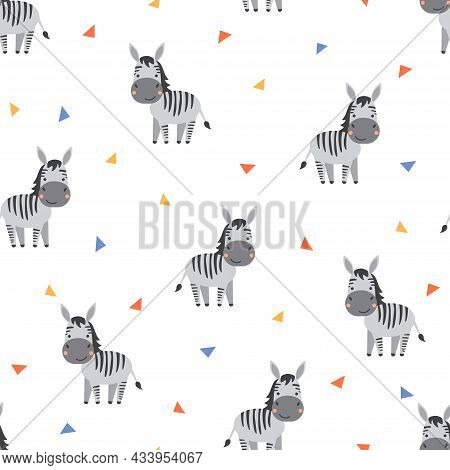 Cute Cartoon Zebras Seamless Pattern On White Background. Vector Illustration For Textile, Fabrics,