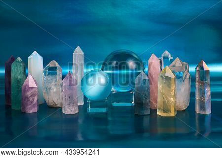 Meditation, Reiki And Crystal Healing Background. Healing Minerals For Spiritual Practice.