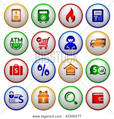 Shopping Icons. Colorful round buttons