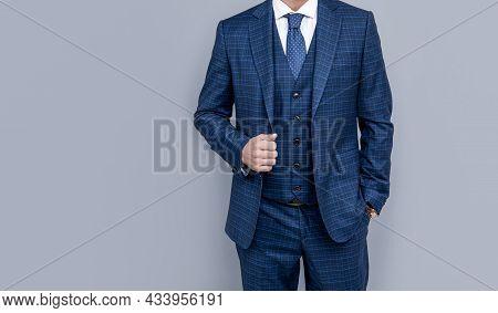 Confident Businessman Man In Businesslike Suit, Copy Space, Formal Fashion