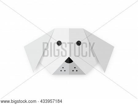 Origami Folded Paper Dog Animal Shape, White Paper Cut Art Design For Kids, Vector Isolated On White