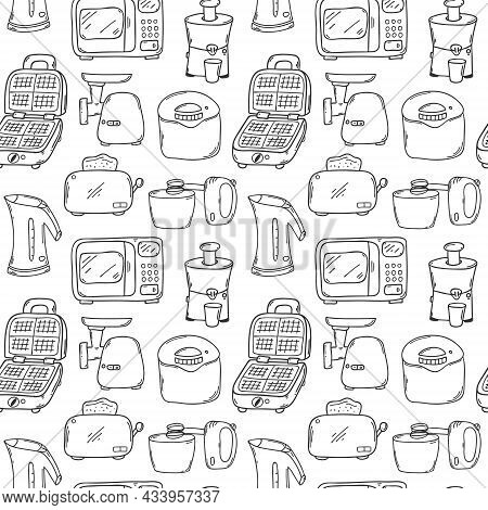 Seamless Pattern With Kitchen Appliances. Microwave, Kettle, Toaster, Steamer, Waffle Iron, Mixer. M