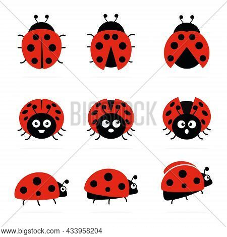 Ladybugs Cute Characters Set. Ladybirds Insects Flying With Open Wings And Big Eyes. Vector Isolated