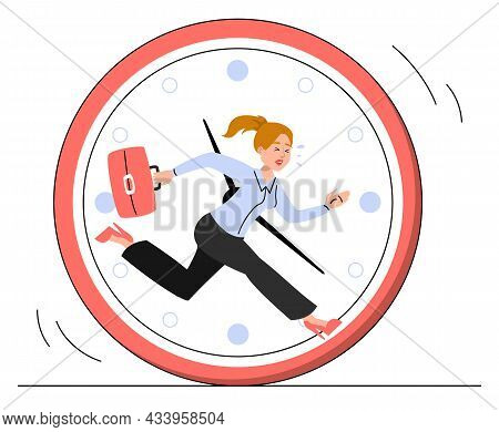 Woman Running Inside The Clock In Panic