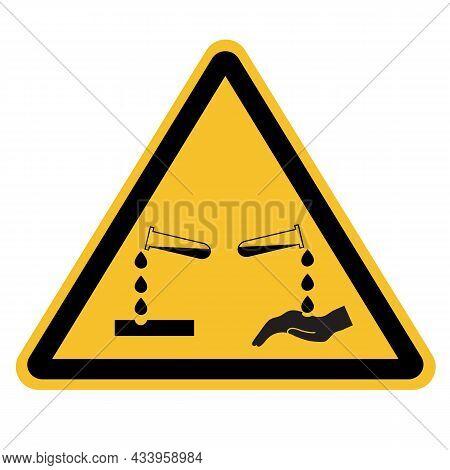 Corrosive Substance Sign On White Background. Beware Corrosive Substance Symbol. Dangerous Corrosive