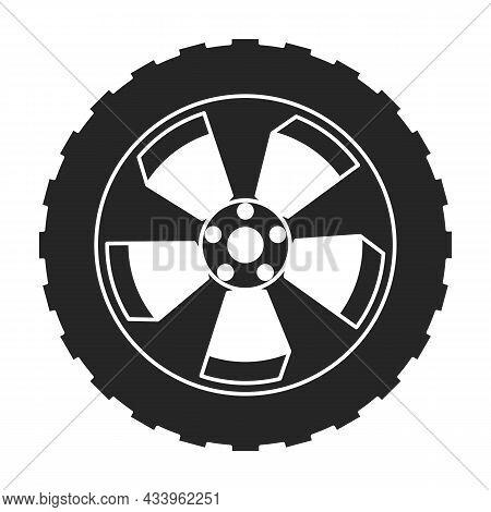Wheel Car Vector Icon.black Vector Icon Isolated On White Background Wheel Car.