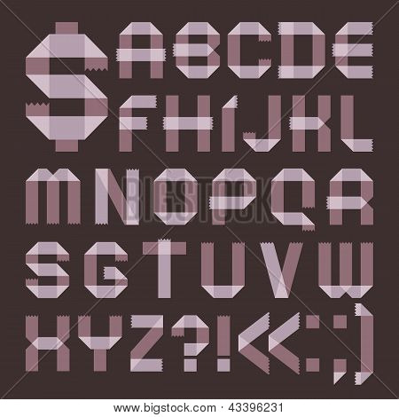 Font from lilac scotch tape -  Roman alphabet