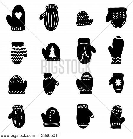 Mitten Glove Christmas Hand Drawn Black Design Elements Vector Illustration. Calligraphy Holiday New