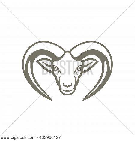 Goat Head Logo, Goat Logo, Farm Logo, Animal Head Icon, Goat Head Animal Vector On White Background.