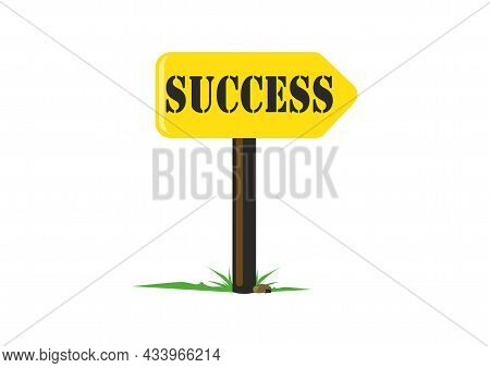 Success Sign Board Vector Image. Way To Success Vector. Road Sign To Success.