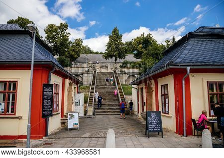 Kuks, East Bohemia, Czech Republic, 10 July 2021: Well Or A Fountain With Statues Of Triton Greek Go