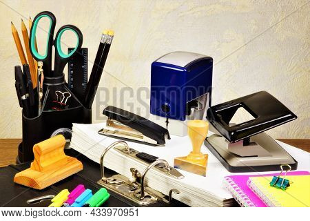 Accounting Stationery For Office Work. Consumables Used For Correspondence And Information Processin