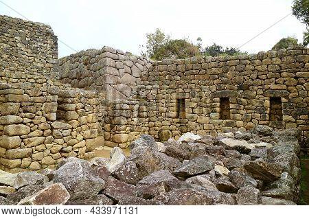 Remains Of The Structure In Machu Picchu Incas Citadel, Unesco World Heritage Site In Cuzco Region,