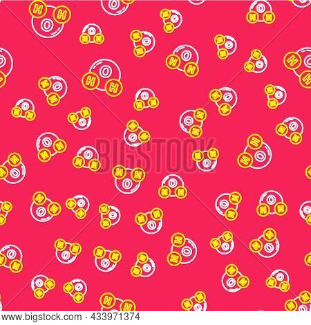 Line Chemical Formula For Water Drops H2o Shaped Icon Isolated Seamless Pattern On Red Background. V