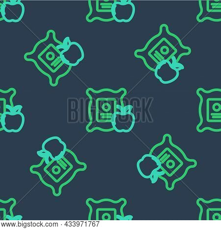 Line Apple In The Sack Icon Isolated Seamless Pattern On Blue Background. Apples In A Canvas Bag. Fa