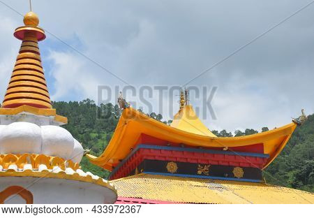 Low Angle View Of Buddhist Temple Roof In Rewalsar Lake (mandi), Himachal Pradesh, India