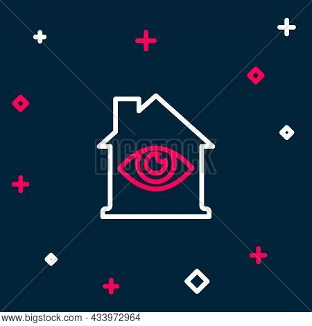 Line House With Eye Scan Icon Isolated On Blue Background. Scanning Eye. Security Check Symbol. Cybe