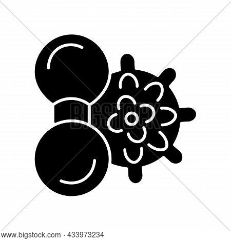 Manual Massage Balls Black Glyph Icon. Spikey Balls. Massaging To Reduce Muscle Sore And Pain. Massa