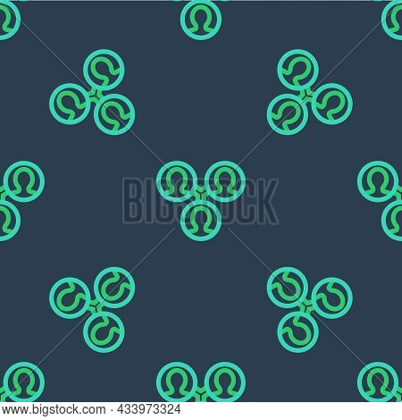 Line Project Team Base Icon Isolated Seamless Pattern On Blue Background. Business Analysis And Plan