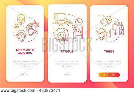 Dehydration Symptoms Red Gradient Onboarding Mobile App Page Screen. Fluid Loss Walkthrough 3 Steps