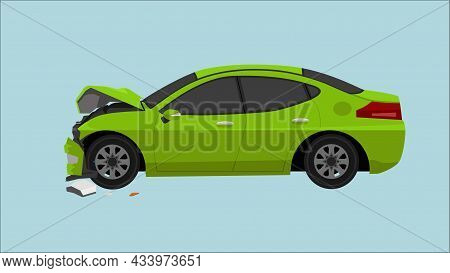 Green Sedan Car Was Severely Damaged. Front Wheels Folded And The Front Bumper Had Broken Apart. Una