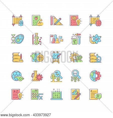 School Subjects Rgb Color Icons Set. Humanities And Applied Sciences. Social Science Learning In Sch