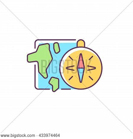 Geography Rgb Color Icon. Compass Against Background Of Map. Round-the-world Trip, Adventure. Geogra