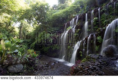 Waterfall In The Forest. Bali Large Natural Waterfalls With Smooth Water On Green Forest Backgrounds
