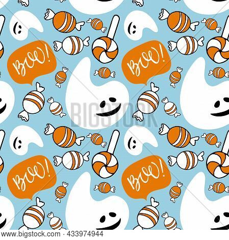 Halloween Seamless Pattern. White Smiling Ghost, Boo Sign, Sweets On Blue Background. Funny Happy Ha