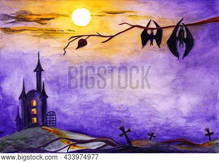 Halloween, Watercolor Drawing, Moonlit Night, Castle On The Background, Bats On The Tree.