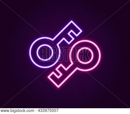 Glowing Neon Line Cryptocurrency Key Icon Isolated On Black Background. Concept Of Cyber Security Or