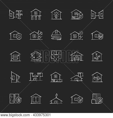 Building Safety Requirements Chalk White Icons Set On Dark Background. Remodeling House. Standards F