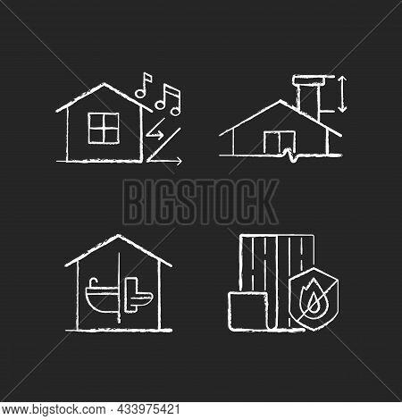 Home Construction Safety Chalk White Icons Set On Dark Background. Sound Insulation. Chimney Height.