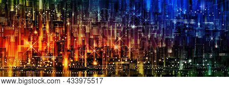 Abstract Futuristic City Vector, Digital Cityscape Background