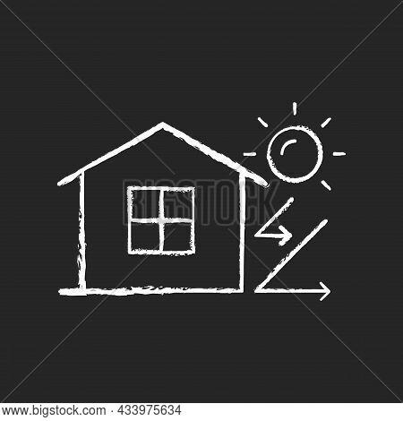 Heat Insulation Chalk White Icon On Dark Background. House Isolation From Heat. Thermal Insulation.
