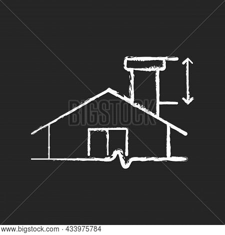 Minimum Chimney Height Chalk White Icon On Dark Background. Building Requirements. Installing Flue I