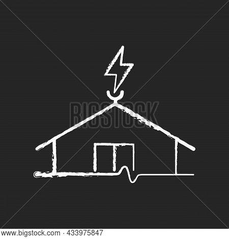 Lightning Rod Chalk White Icon On Dark Background. Protecting Buildings From Lightning Strike Damage