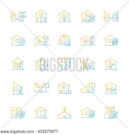 Building Safety Requirements Gradient Linear Vector Icons Set. Remodeling House. Standards For Build