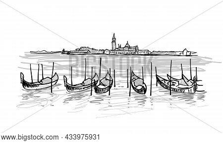 Gondolas In Venice, Italy. Hand Drawn Vector Sketch Illustration With Moored Gondolas View Of San Gi