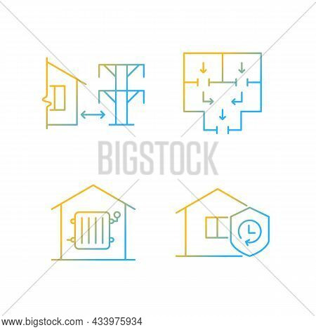 Home Building Regulation Gradient Linear Vector Icons Set. Distance From Electric Lines. Fire Escape