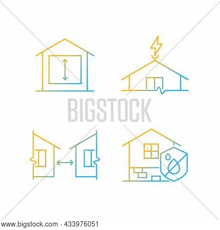 Building Safe House Gradient Linear Vector Icons Set. Minimum Ceiling Heights. Lightning Rod. Distan