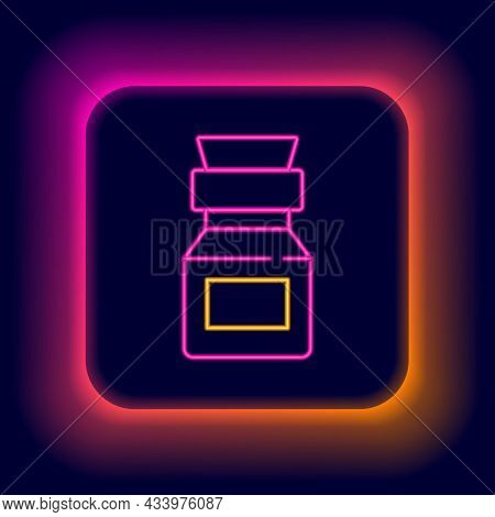 Glowing Neon Line Poison In Bottle Icon Isolated On Black Background. Bottle Of Poison Or Poisonous