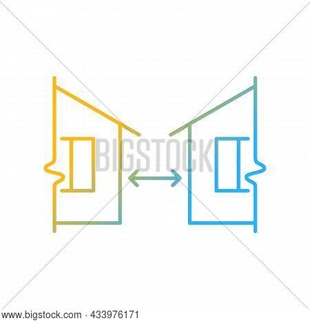 Minimum Distance Between Buildings Gradient Linear Vector Icon. Regulation For Human Habitation. Apa