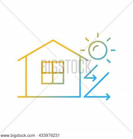 Heat Insulation Gradient Linear Vector Icon. House Isolation From Heat. Thermal Insulation. Energy-e