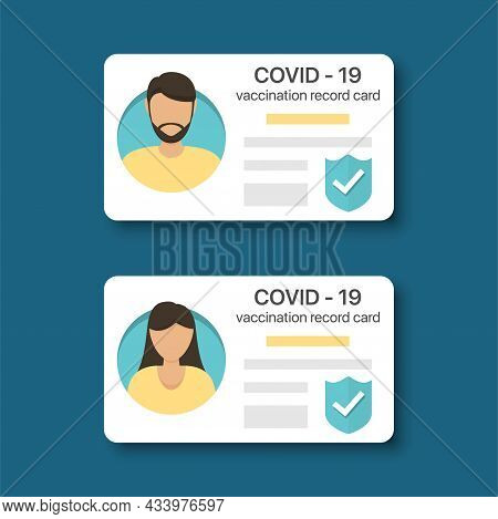 Covid-19 Vaccination Record Card For Men And Woman. Immunity Covid-19 Certificate In A Flat Design