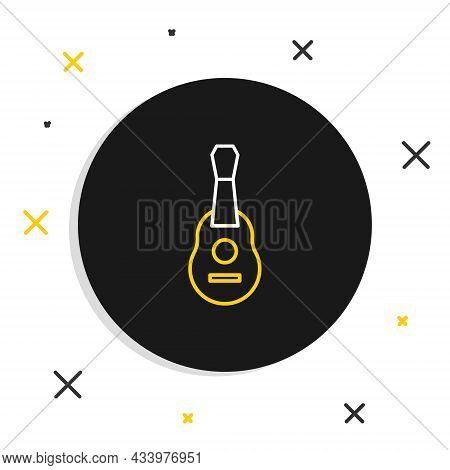 Line Guitar Icon Isolated On White Background. Acoustic Guitar. String Musical Instrument. Colorful
