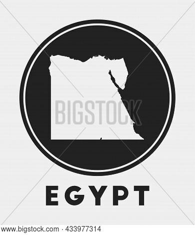 Egypt Icon. Round Logo With Country Map And Title. Stylish Egypt Badge With Map. Vector Illustration